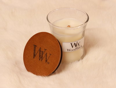 Woodwick kaars small White Tea & Jasmine