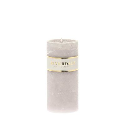 Riverdale candle Pillar Light Grey,   7,5 x 15 cm