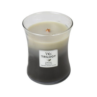 WoodWick kaars medium Trilogy Warm Woods