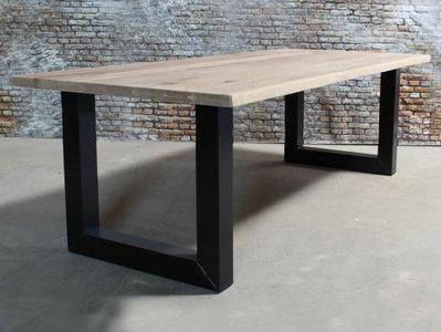 Metalen Onderstel Tafel : Eiken eettafel boomschorsrand met metalen onderstel budget